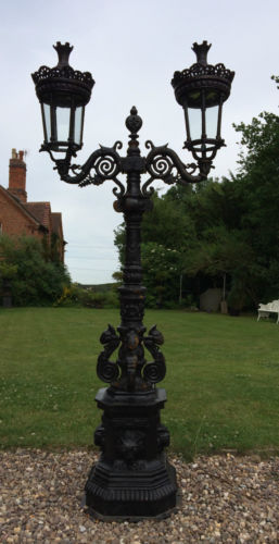 Cast Iron Lamp Post in London  Paris style two headed decorative lanterns